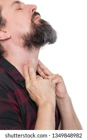 man sweeping the laryngeal, laryngitis, goiter or hypothyreosis, isolated on white