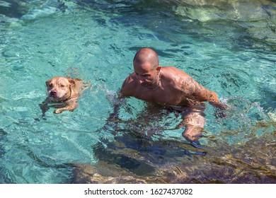 Man swimming with dog at sea water