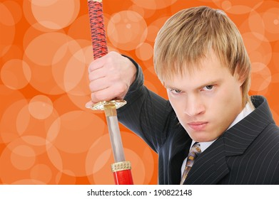 Man with sword protects business, on orange background.