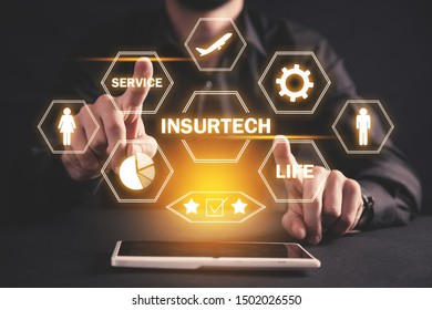 Man with a tablet computer. Insurtech