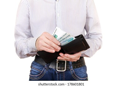 Man take out the Russian Currency from the Wallet. Isolated on the White Background