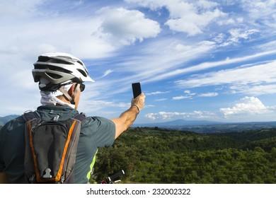 man take a photo