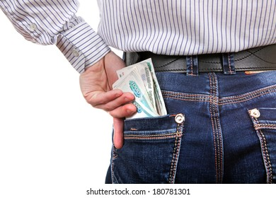 Man take up the Russian Currency from the back Pocket of the Jeans