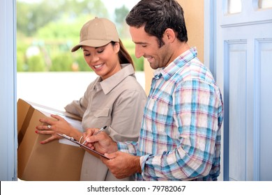 Man taking delivery of a parcel