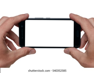 Man taking picture with mobile smart phone. Isolated on white