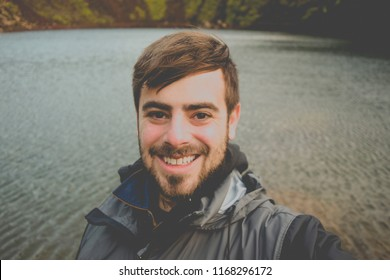 Man taking selfie while traveling in Iceland