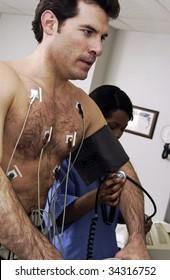 Man taking stress test