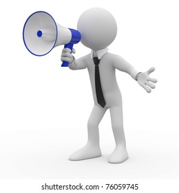 Man talking on a white and blue megaphone