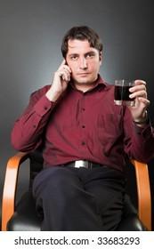 Man talks on a mobile phone