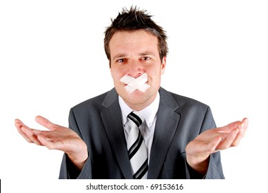 Man with tape over his mouth in a gesturing pose of speechlessness