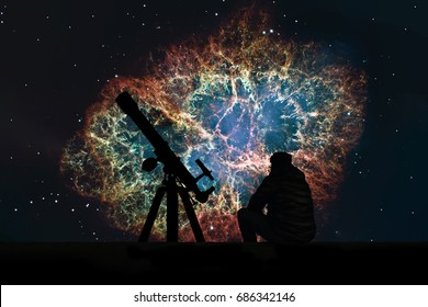 Man with telescope looking at the stars. Crab Nebula in constellation Taurus. Supernova Core pulsar neutron star. Elements of this image are furnished by NASA.