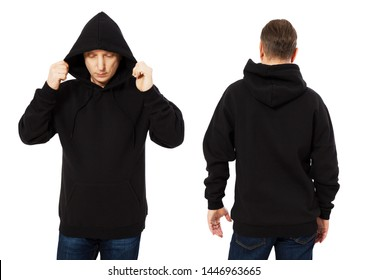 Man in template mens black hoodie sweatshirt isolated on white background. Man in black blank sweatshirt hoody with copy space and mockup for design logo print, Front and back view. Middle age man