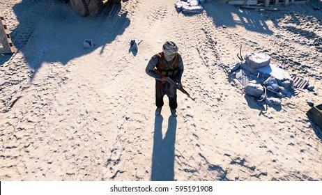 Man terrorist wearing a mask and holding a gun. East desert landscape. military headquarters, terrorist base. 3d rendering.