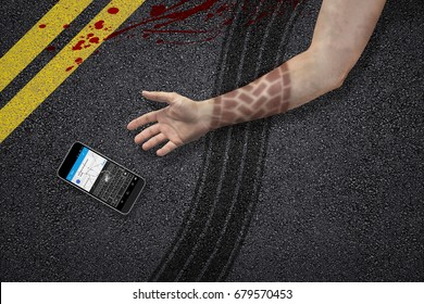 man texting and jaywalking accident hand tire marks phone asphalt