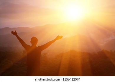 Man thank God on the mountain