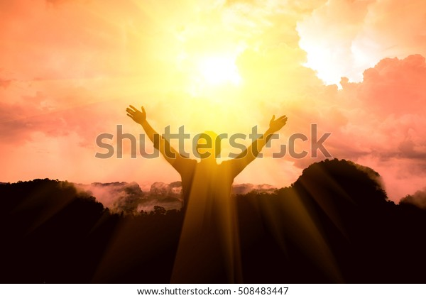 The man thanked God on the mountain