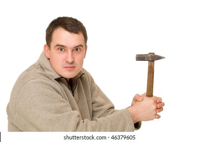 man think with hammer isolated on white