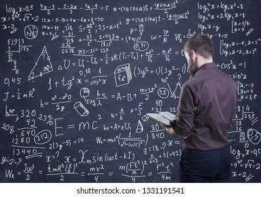 A man thinking how to solve a math problem