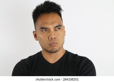 man thinking on a white background