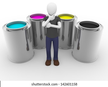 A man is thinking surrounded of cmyk tints