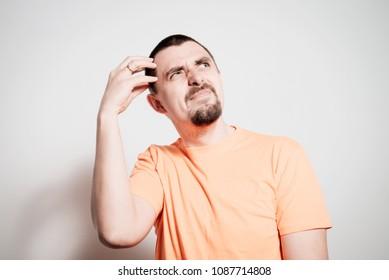 Man thinks in shirt