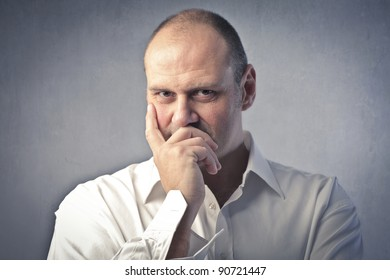 Man with thoughtful expression