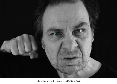 man threatening and angry