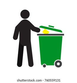 Man throwing out trash silhouette icon. Waste recycling. Isolated raster illustration. Pollution prevention