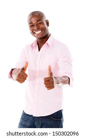 Man with thumbs up looking very happy - isolated over white