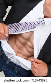 man in tie rip clothes off torso showing abs. Super human reveal, white collar healthy life style, perfect muscular train, weight loss, wellness nutrition, powerful job concept