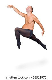 Man in tights jumping on a white background. Fat man dancing ballet. Funny man jumps in classical dance. Modern ballet. Cheerful fat man dancing in tight pants isolated on white background.