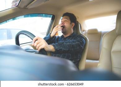 Man Tired Sleepy in car