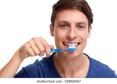 Man with toothbrush.