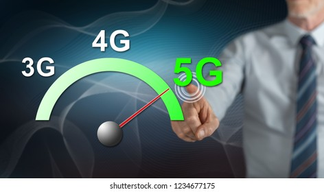 Man touching a 5g concept on a touch screen with his finger