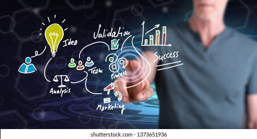 Man touching a business strategy concept on a touch screen with his finger