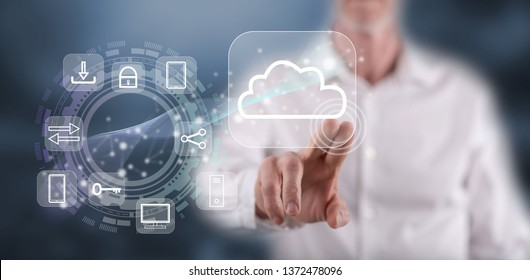 Man touching a cloud computing concept on a touch screen with his finger