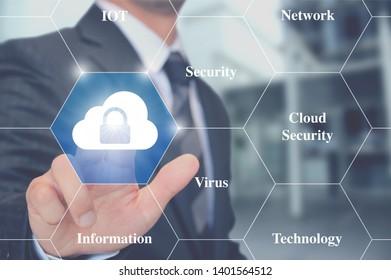 Man touching cloud security button