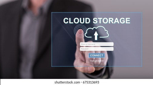 Man touching a cloud storage concept on a touch screen with his finger