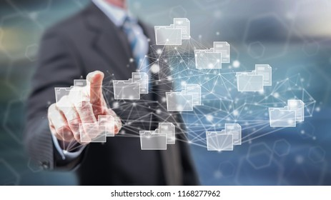 Man touching a data connection concept on a touch screen with his fingers