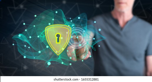 Man touching a data security concept on a touch screen with his finger