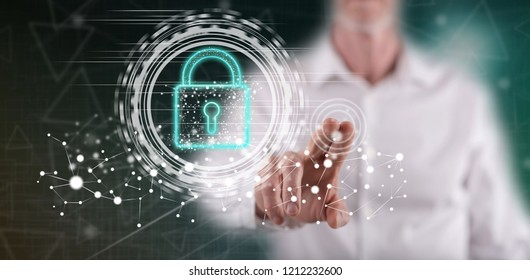 Man touching a digital security concept on a touch screen with his finger
