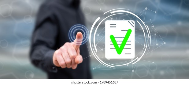 Man touching a document validation concept on a touch screen with his finger