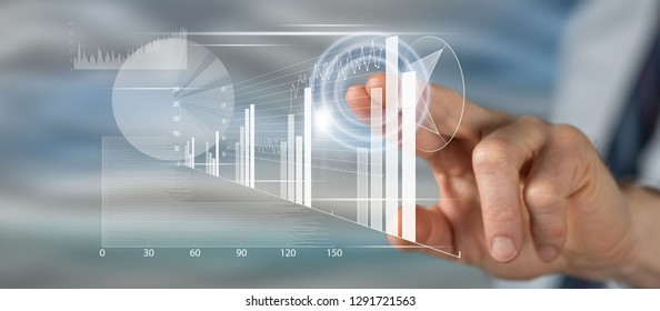 Man touching a financial analysis concept on a touch screen with his finger