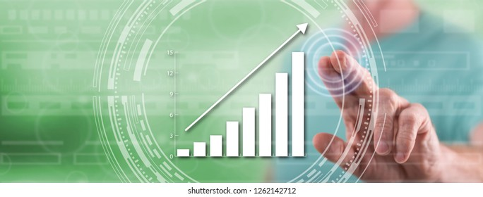 Man touching a financial growth concept on a touch screen with his finger