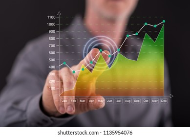 Man touching a financial results concept on a touch screen with his finger