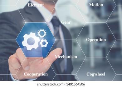 man touching gears interaction button