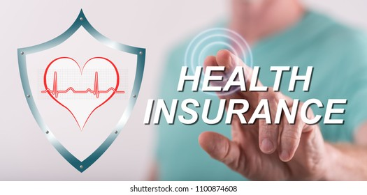 Man touching a health insurance concept on a touch screen with his finger