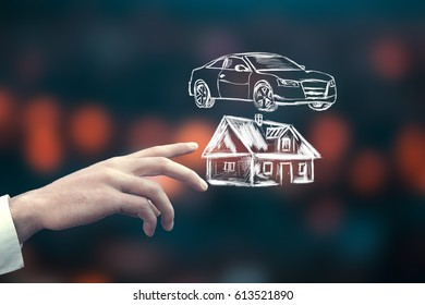 man touching house and car in  screen