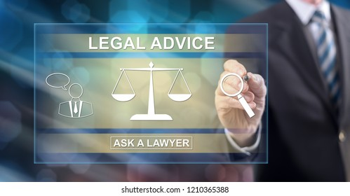 Man touching a legal advice concept on a touch screen with a stylus pen