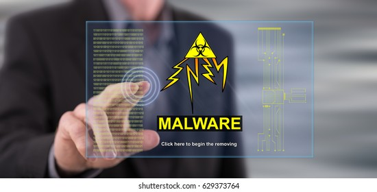 Man touching a malware concept on a touch screen with his finger